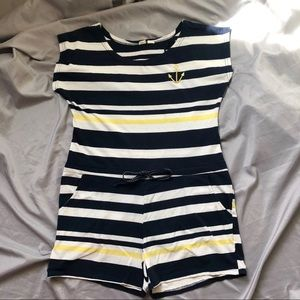 Beach by Exist Striped Romper L Navy Yellow White